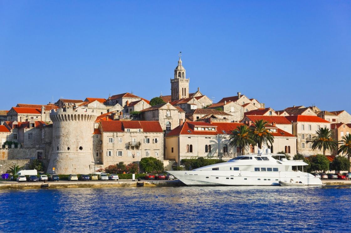 Town Korcula at Croatia - architecture background